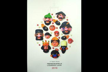 Un cartel del estellés Diego Escribano anuncia las fiestas de Estella