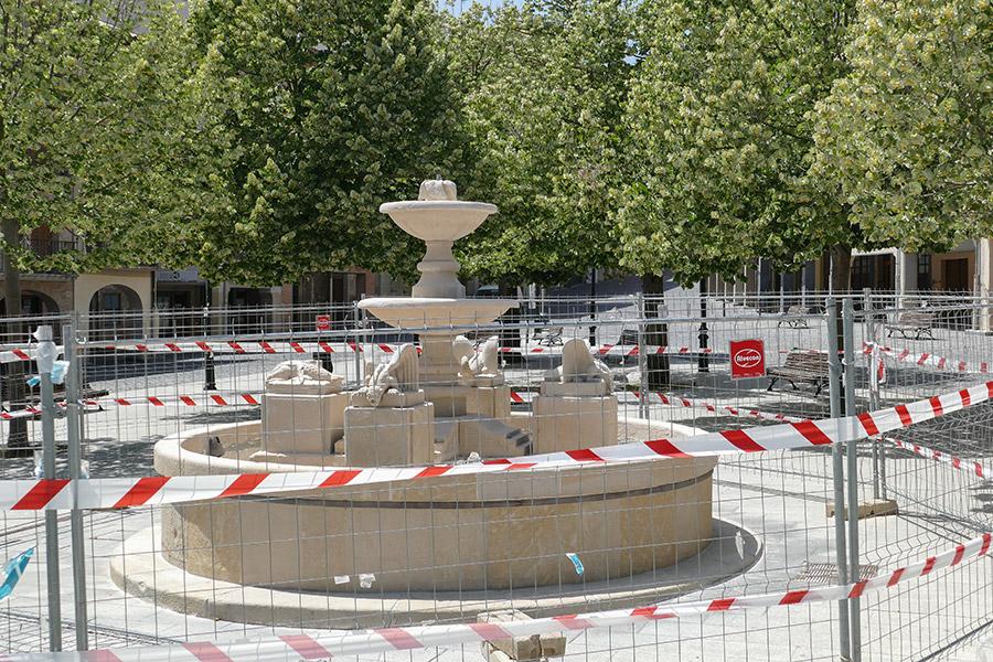 La fuente de la plaza Santiago, en obras