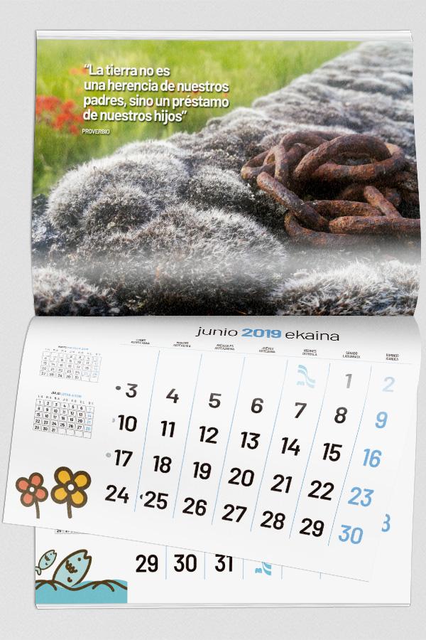 Un calendario con mensaje ecológico
